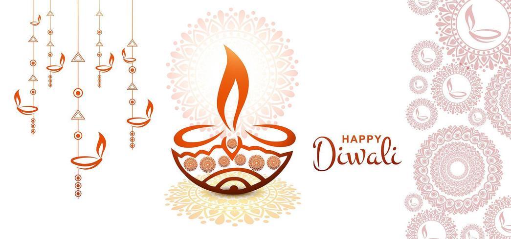 Illustrazione artistica di vettore di festival della cartolina d'auguri di diwali