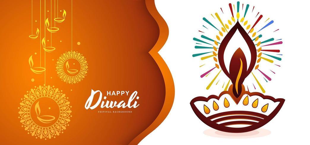 Priorità bassa felice creativa di diya della cartolina d'auguri di diwali