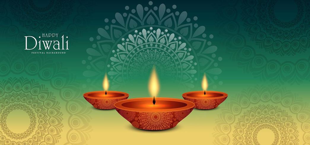 Ornamento floreale rotondo del fondo verde di festival di Diwali