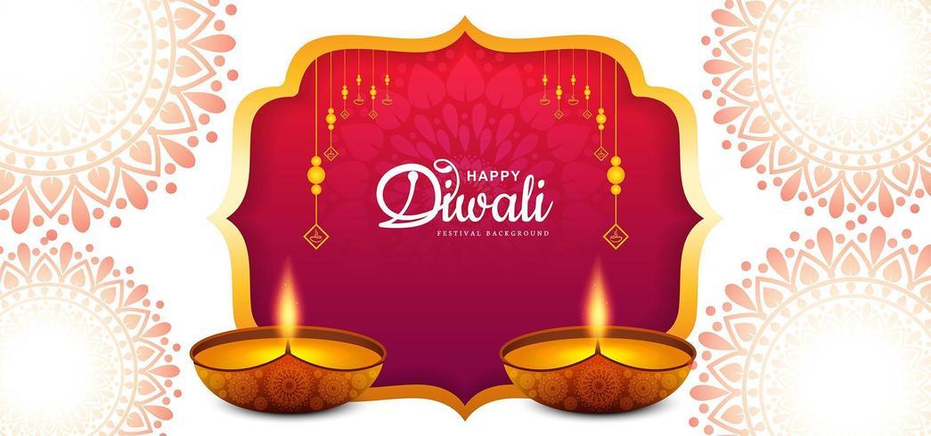 Elegante card design del tradizionale festival indiano Diwali Background