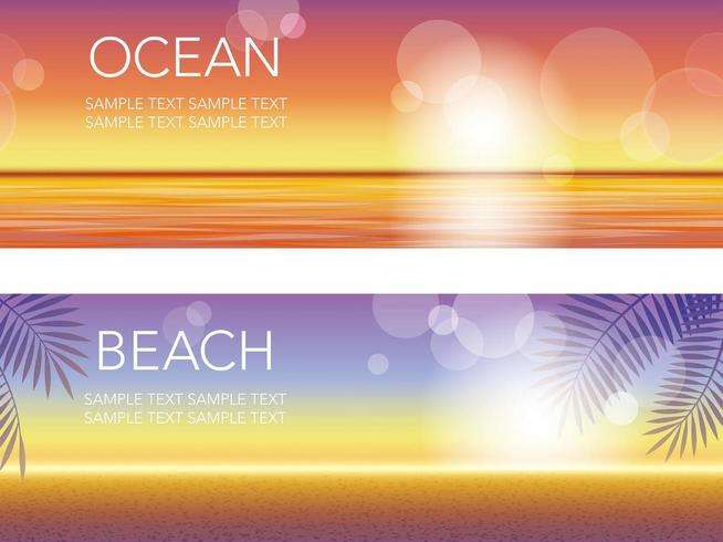 Set van twee vector zonsondergang achtergrond