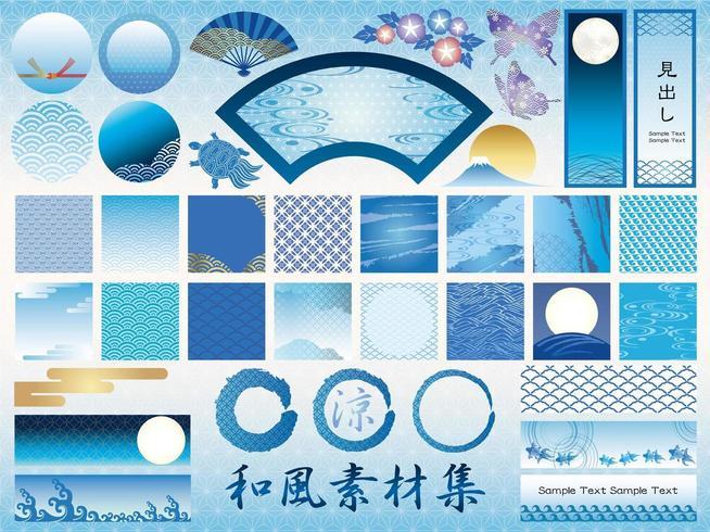 Insieme di elementi grafici giapponesi assortiti