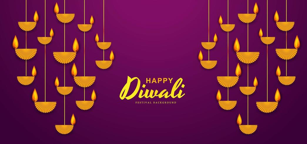 illustrazione di masterizzazione diya su felice Diwali Holiday background