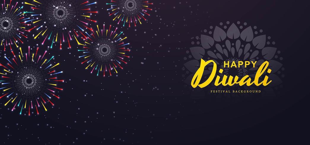 Insegna dei fuochi d'artificio di festival per l'illustrazione del fondo di diwali