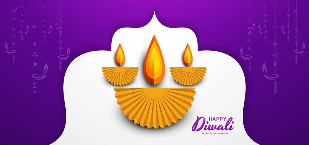 Il diwali felice desidera la progettazione della cartolina d'auguri con il fondo di diya del taglio della carta