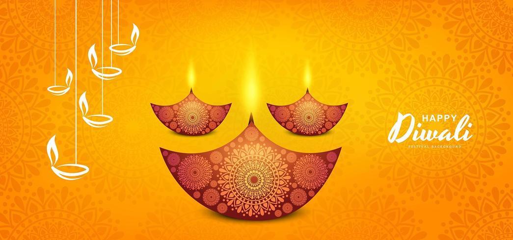 Bello fondo felice del bokeh di diwali con progettazione di diya
