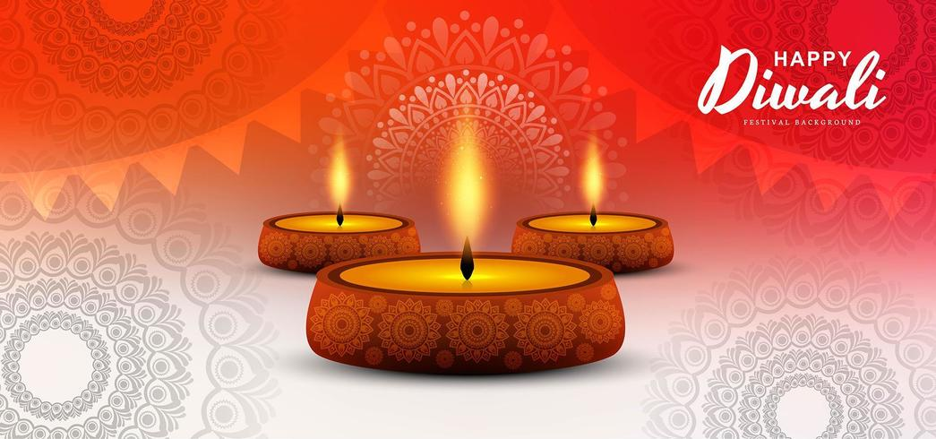 Diwali festival design delle vacanze con sfondo indiano Rangoli