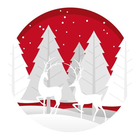 Christmas round illustration with forest and reindeer
