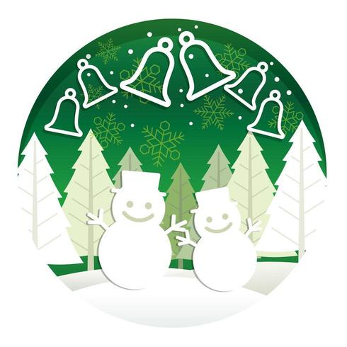 Julrundaillustration med skog och snögubbar