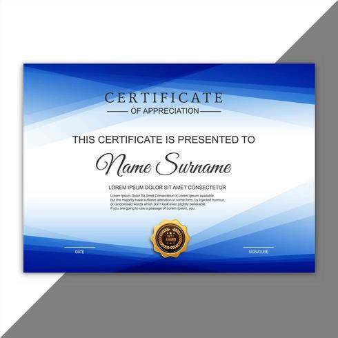 Certificado creativo abstracto de plantilla de premio de apreciación