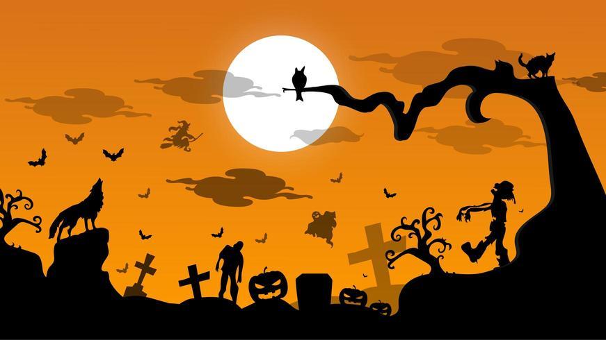 Feliz día de halloween de fondo vector