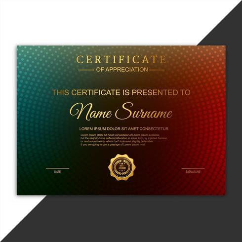 Certificato di apprezzamento premio modello colorato