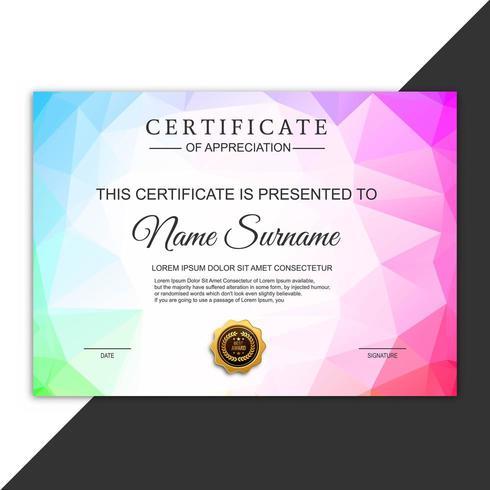Hermoso diseño de polígono de plantilla de certificado