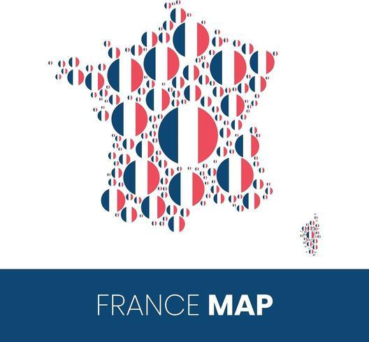Frankrike karta fylld med flaggformade cirklar