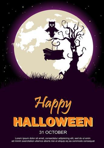 Cartaz de festa de Halloween com árvore, coruja e lua