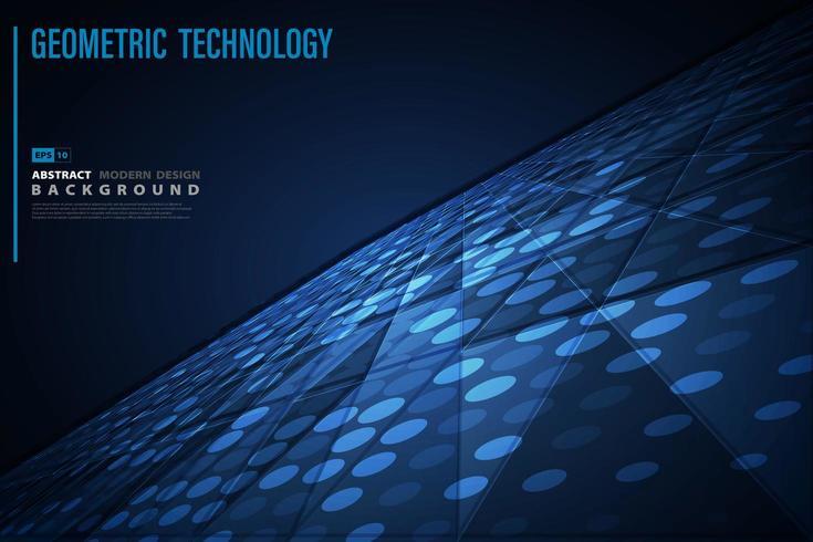 Patrón geométrico futurista azul de fondo de tecnología vector