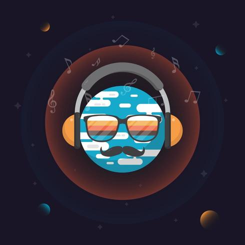 Music world guy in space vector