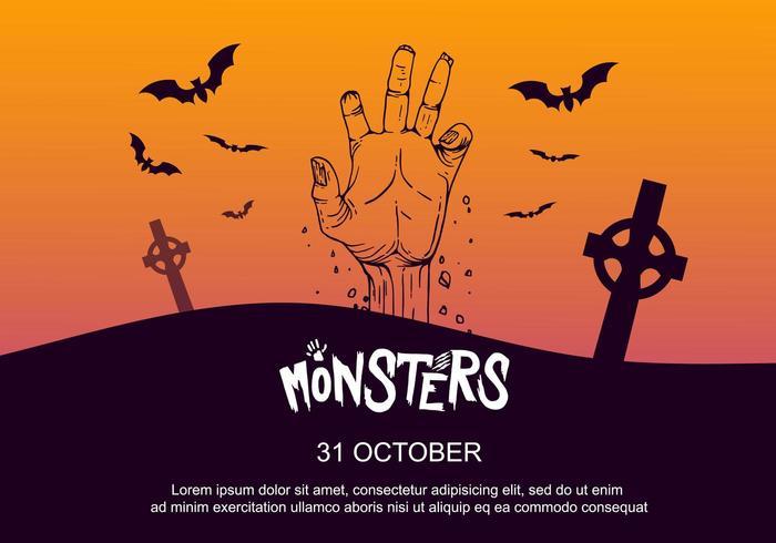 Manifesto del partito di Halloween con la mano nel cimitero