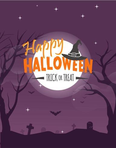 Halloween-feestaffiche met maan en vleermuizen boven begraafplaats vector