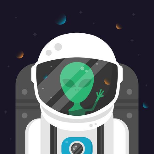 Astronauta alien en traje espacial vector