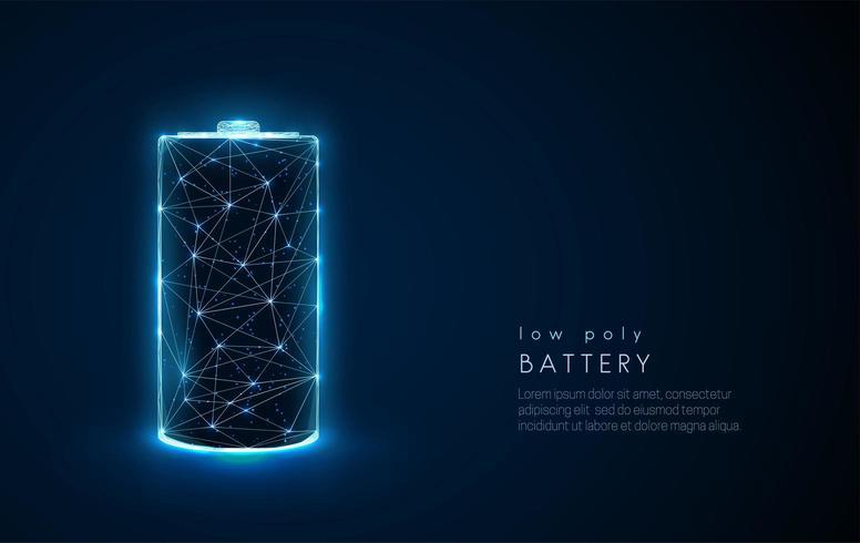 Abstrakt batteriikon. Låg poly stil design.
