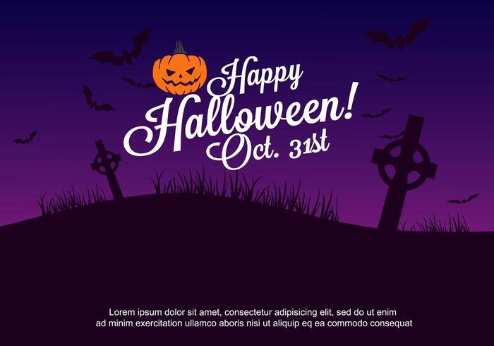 Cartel de fiesta de Halloween con cementerio, murciélagos y Jack-O-Lantern vector