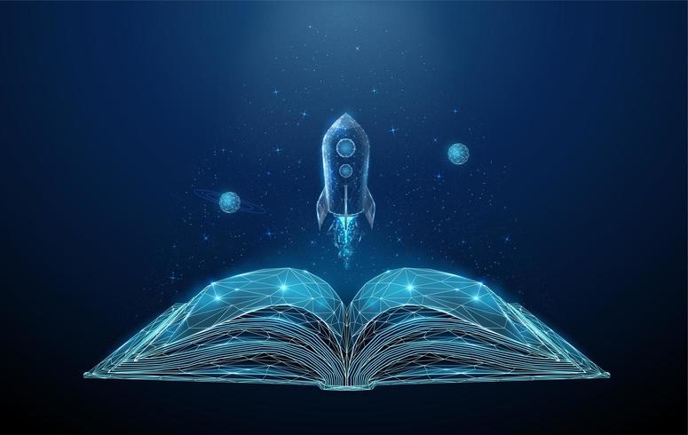 Libro abierto y cohete volador con estrellas y planetas.