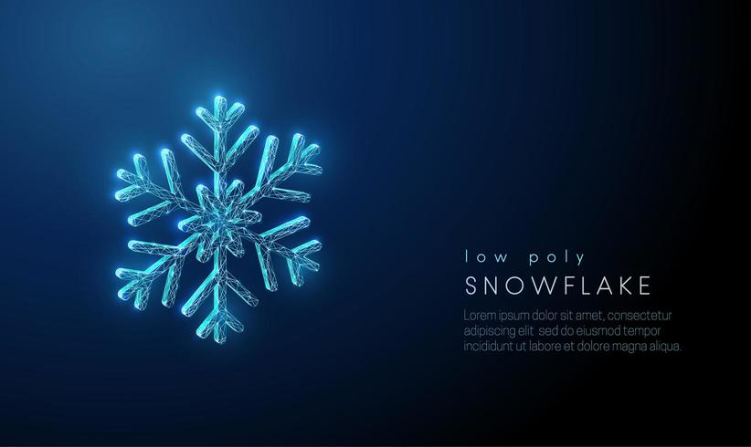 Abstract snowflake. Low poly style design. vector