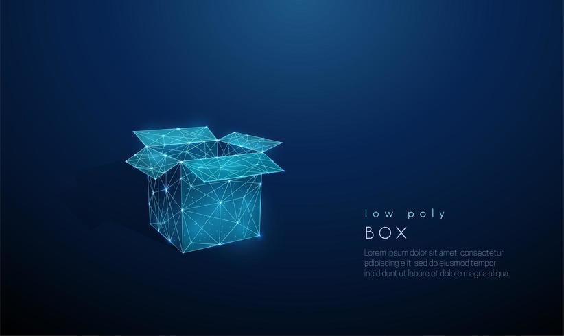 Abstrakt öppen låda. Låg poly stil design.