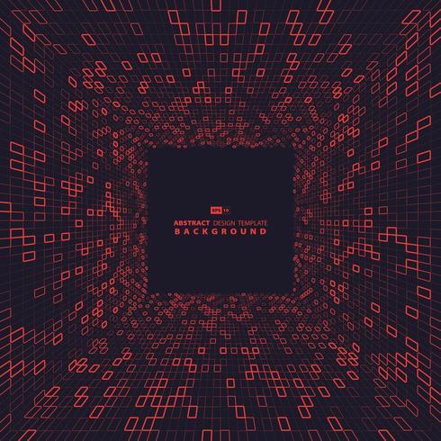 Quadrati rossi del design della copertina della dimensione tecnologica. illustrazione vettoriale eps10