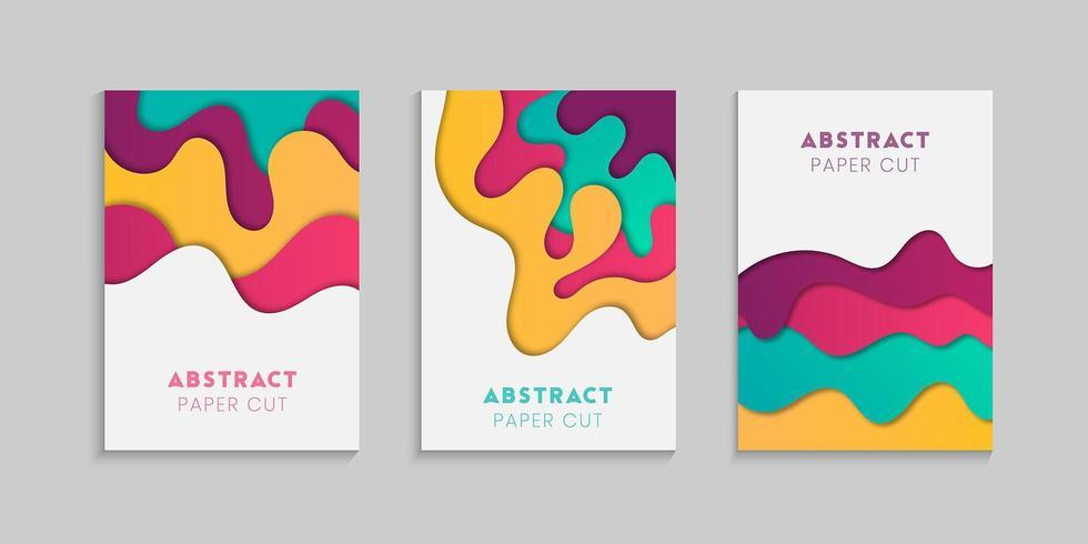 ensemble d'affiche ondulée style coupe de papier