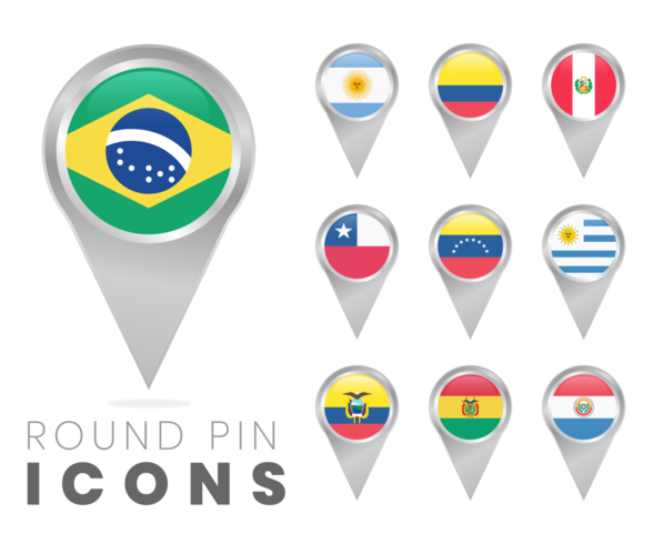 Iconos de pin redondo de banderas de América del sur