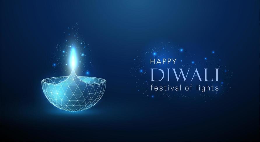 Abstrakt låg poly glödande lampa. Diwali gratulationskort. vektor