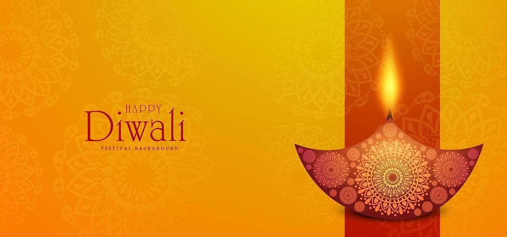 Beau fond de célébration de carte joyeux Diwali diya