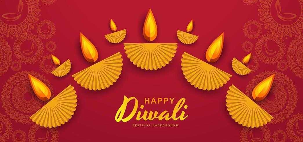 Decorative DIwali diya background with rangoli  vector