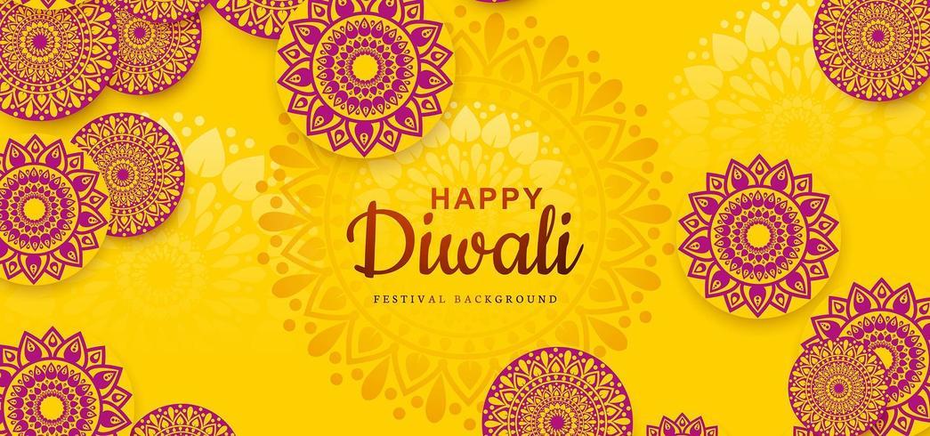 Conception de vacances festival Diwali avec fond indien Rangoli