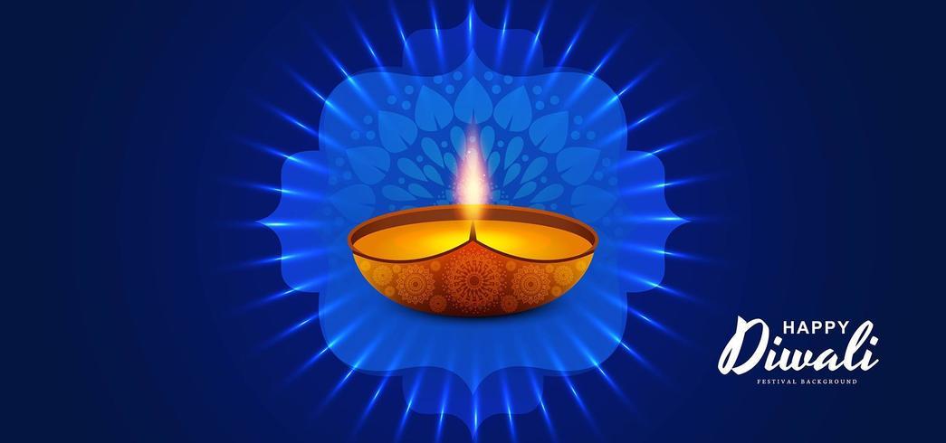 Felice festival della luce Diwali con design Diya