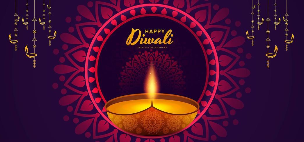 Fondo creativo del modello felice di progettazione della carta da parati di Diwali