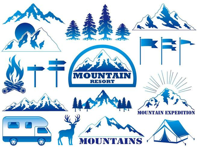 Set of  mountain resort and outdoor activities graphic elements.
