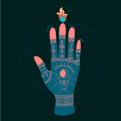 Mains ornées de symboles sacrés de style bohème