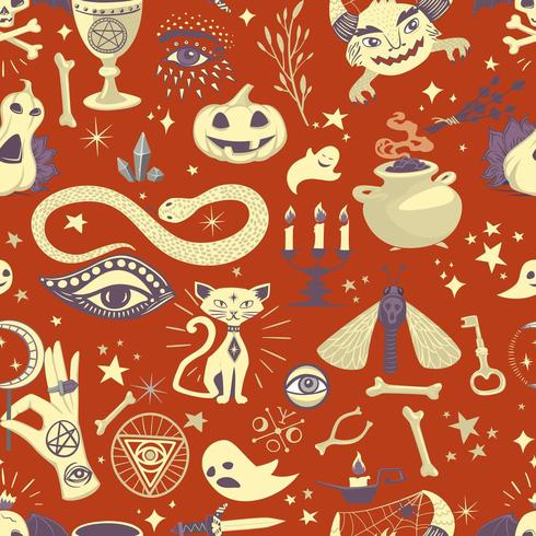 Vintage halloween patroon met magische elementen