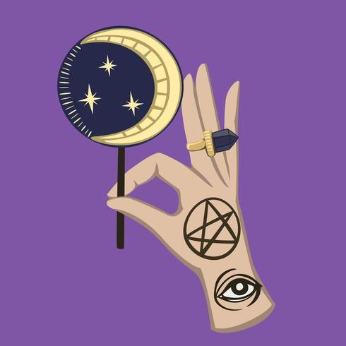 mano magica rituale con caramelle lunari