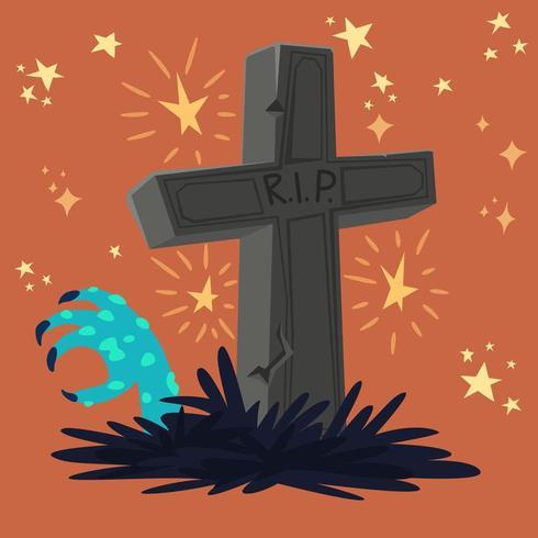 tumba del cementerio con la mano de zombie vector