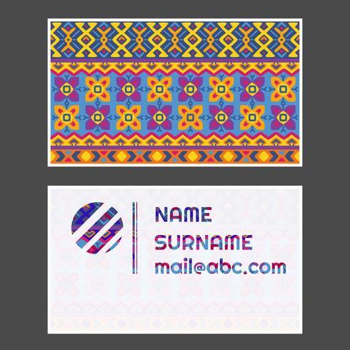 Bright retro tribal business card