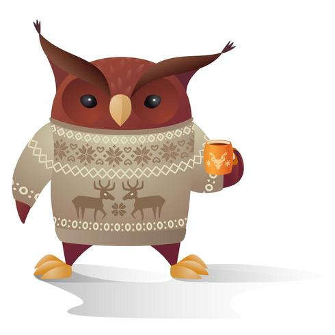 brown owl character in warm sweater with cup of tea