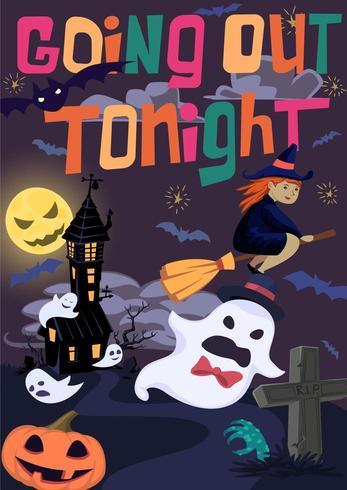 Poster di Halloween con strega