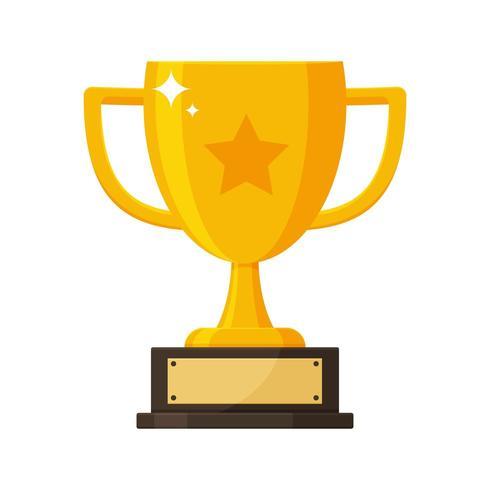 Trophée d'or avec la plaque signalétique