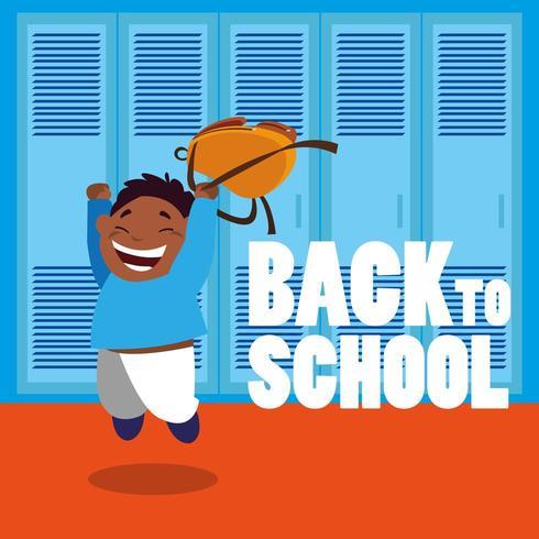 happy student  in school hall vector