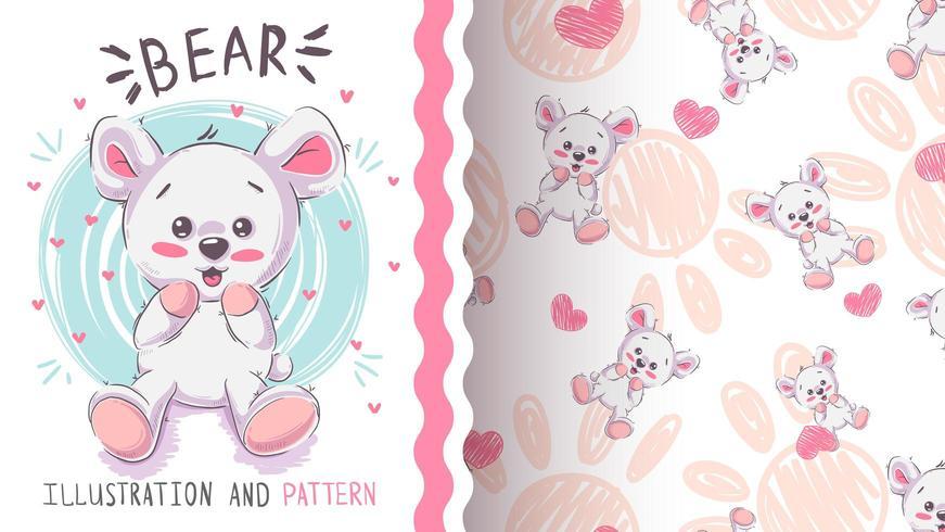 Funny teddy bear - seamless pattern
