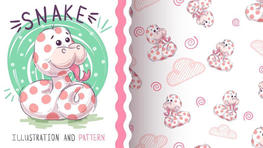 Cute teddy snake - seamless pattern
